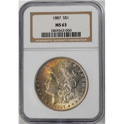 1887 $1 Morgan Silver Dollar Coin NGC MS63 Amazing Toning
