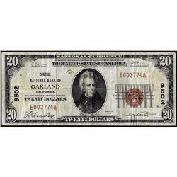 1929 $20 Central NB of Oakland, CA CH# 9502 National Currency Note