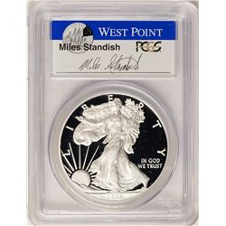 2015-W $1 Proof American Silver Eagle Coin PCGS PR70DCAM W/Miles Standish Signature