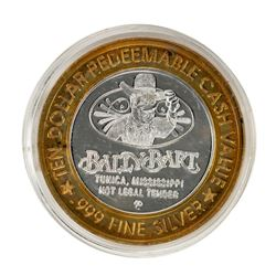 .999 Silver Bally Bart Tunica, Mississippi $10 Casino Limited Edition Gaming Token