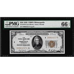 1929 $20 Federal Reserve Bank Note Minneapolis Fr.1870-I PMG Gem Uncirculated 66EPQ