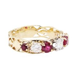 14KT Yellow Gold 1.25 ctw Ruby And Diamond Ring