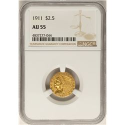 1911 $2 1/2 Indian Head Quarter Eagle Gold Coin AU55