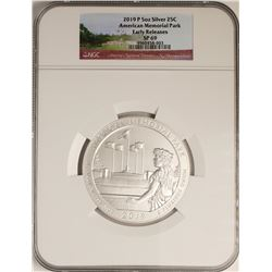 2019-P American Memorial Park 5 Ounce Silver Coin NGC SP69 Early Releases