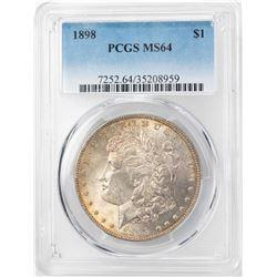 1898 $1 Morgan Silver Dollar Coin PCGS MS64