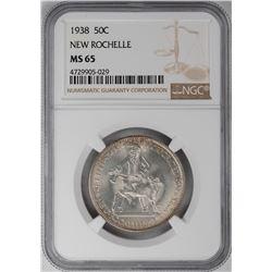 1938 New Rochelle Commemorative Half Dollar Coin NGC MS65