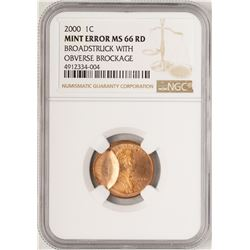 2000 Lincoln Cent Coin Broadstruck w/ Obverse Brockage NGC Mint ERROR MS66RD