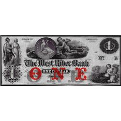 1800's $1 The West River Bank Jamaica, VT Obsolete Bank Note
