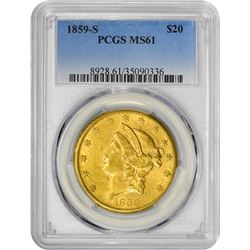 1859-S $20 Liberty Head Double Eagle Gold Coin PCGS MS61