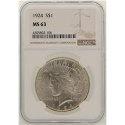 1924 $1 Peace Silver Dollar Coin NGC MS63
