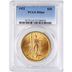 1922 $20 St. Gaudens Double Eagle Gold Coin PCGS MS64