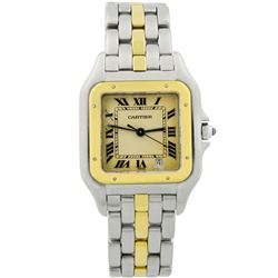 Cartier Ladies Panthere 18KT Yellow Gold & Steel 27mm Silver Roman Dial Watch