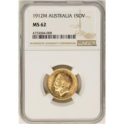 1912-M Australia Sovereign Gold Coin NGC MS62