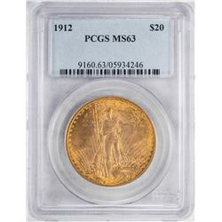 1912 $20 St. Gaudens Double Eagle Gold Coin PCGS MS63