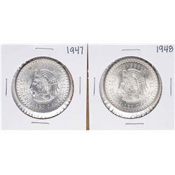 Lot of 1947-1948 Mexico Cinco Pesos Silver Coins