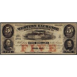 1857 $5 Western Exchange Fire & Marine Insurance Nebraska Obsolete Note