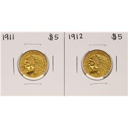 Lot of 1911-1912 $5 Indian Head Half Eagle Gold Coins