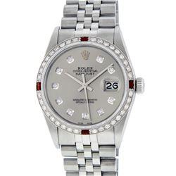 Rolex Men's Stainless Steel Gray Diamond & Ruby Datejust Wristwatch