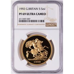 1992 Great Britain 5 Sovereigns Proof Gold Coin NGC PF69 Ultra Cameo