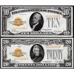 Lot of 1928 $10 & $20 Gold Certificate Notes