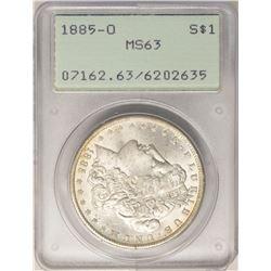 1885-O $1 Morgan Silver Dollar Coin PCGS MS63 Old Green Rattler Holder
