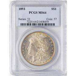 1893 $1 Morgan Silver Dollar Coin PCGS MS64