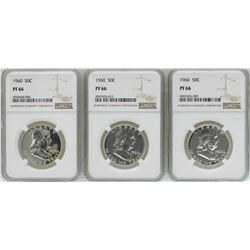 Lot of (3) 1960 Proof Franklin Half Dollar Coins NGC PF66