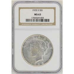 1925-S $1 Peace Silver Dollar Coin NGC MS63