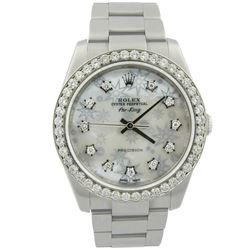 Rolex Mens Air-King Stainless Steel 34mm MOP Diamond Dial Watch