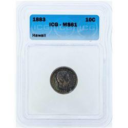1883 Kingdom of Hawaii Silver Dime Coin ICG MS61
