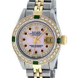 Rolex Ladies Two Tone 14K Pink MOP Diamond Ruby & Emerald Datejust Wriswatch