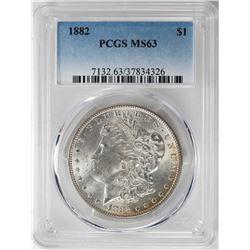 1882 $1 Morgan Silver Dollar Coin PCGS MS63 Amazing Reverse Toning