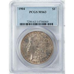 1904 $1 Morgan Silver Dollar Coin PCGS MS63