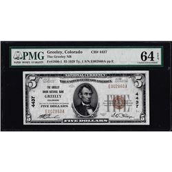 1929 $5 Greely, Colorado CH#4437 National Currency Note PMG Choice Uncirculated 64EPQ