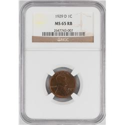 1929-D Lincoln Wheat Cent Coin NGC MS65RB