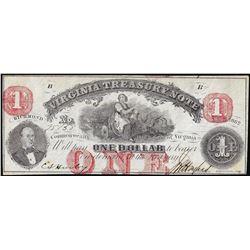1862 $1 Virginia Treasury Note Obsolete