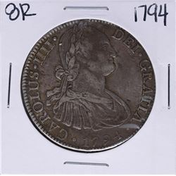 1794-FM Mexico 8 Reales Carolus IIII Silver Coin