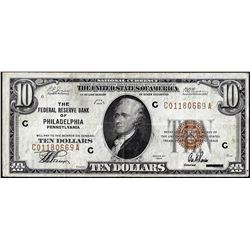 1929 $10 Federal Reserve Bank of Philadelphia Note
