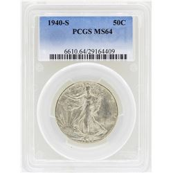 1940-S Walking Liberty Half Dollar Coin PCGS MS64