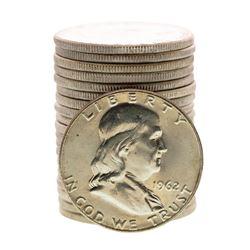 Roll of (20) Brilliant Uncirculated 1962 Franklin Half Dollar Coins