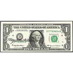 1999 $1 Federal Reserve Note with Courtesy Autograph
