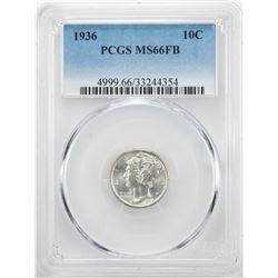 1936 Mercury Dime Coin PCGS MS66FB