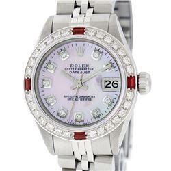 Rolex Ladies Stainless Steel Pink MOP Diamond & Ruby Datejust Watch