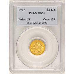 1907 $2 1/2 Liberty Head Quarter Eagle Gold Coin PCGS MS63