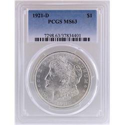 1921-D $1 Morgan Silver Dollar Coin PCGS MS63