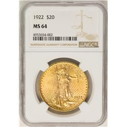 1922 $20 St. Gaudens Double Eagle Gold Coin NGC MS64