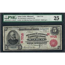 1902 $5 National Bank of St. Louis, MO CH# 587 National Currency Note PMG Very Fine 25