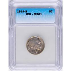 1914-S Buffalo Nickel Coin ICG MS61