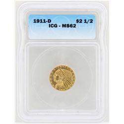 1911-D $2 1/2 Indian Head Quarter Eagle Gold Coin ICG MS62