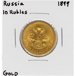 1899 Russia 10 Rubles Gold Coin